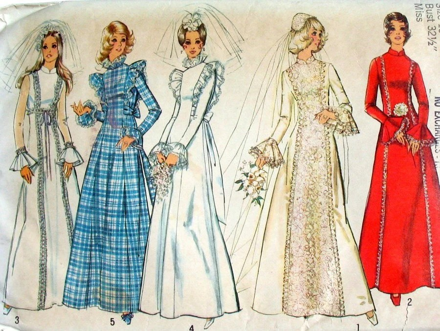 1970s Wedding Gown Sewing Pattern Vintage Simplicity 8313 Bust