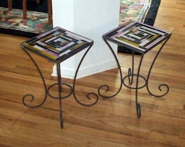 Stained Glass Wrought Iron Mosaic End Tables