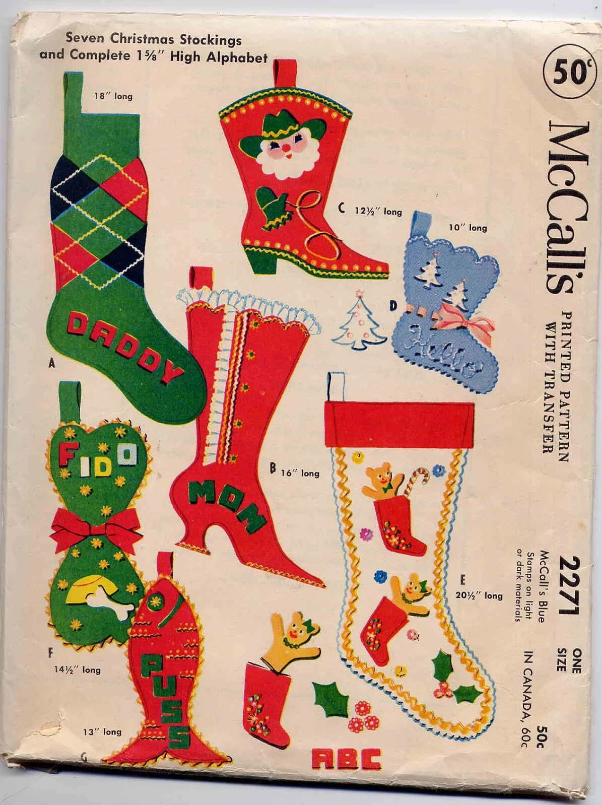 Vintage 1958 McCalls Felt Christmas Stocking By