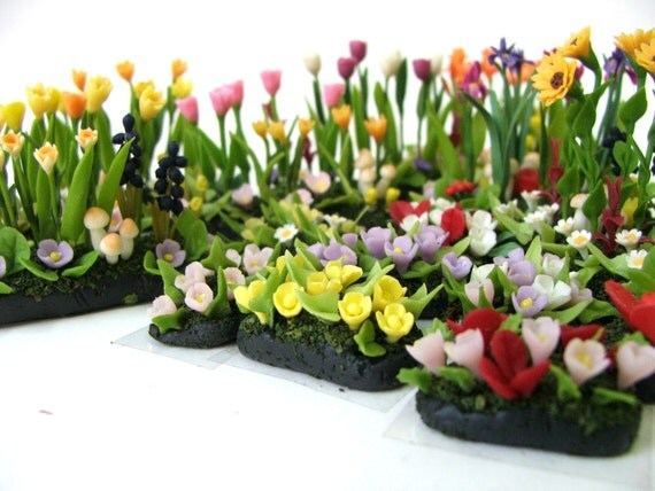 miniature garden polymer clay flowers