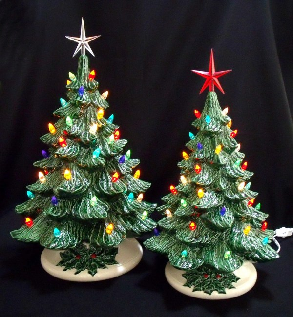 Old Fashioned Ceramic Christmas Tree 16 and 19 Inch Collection