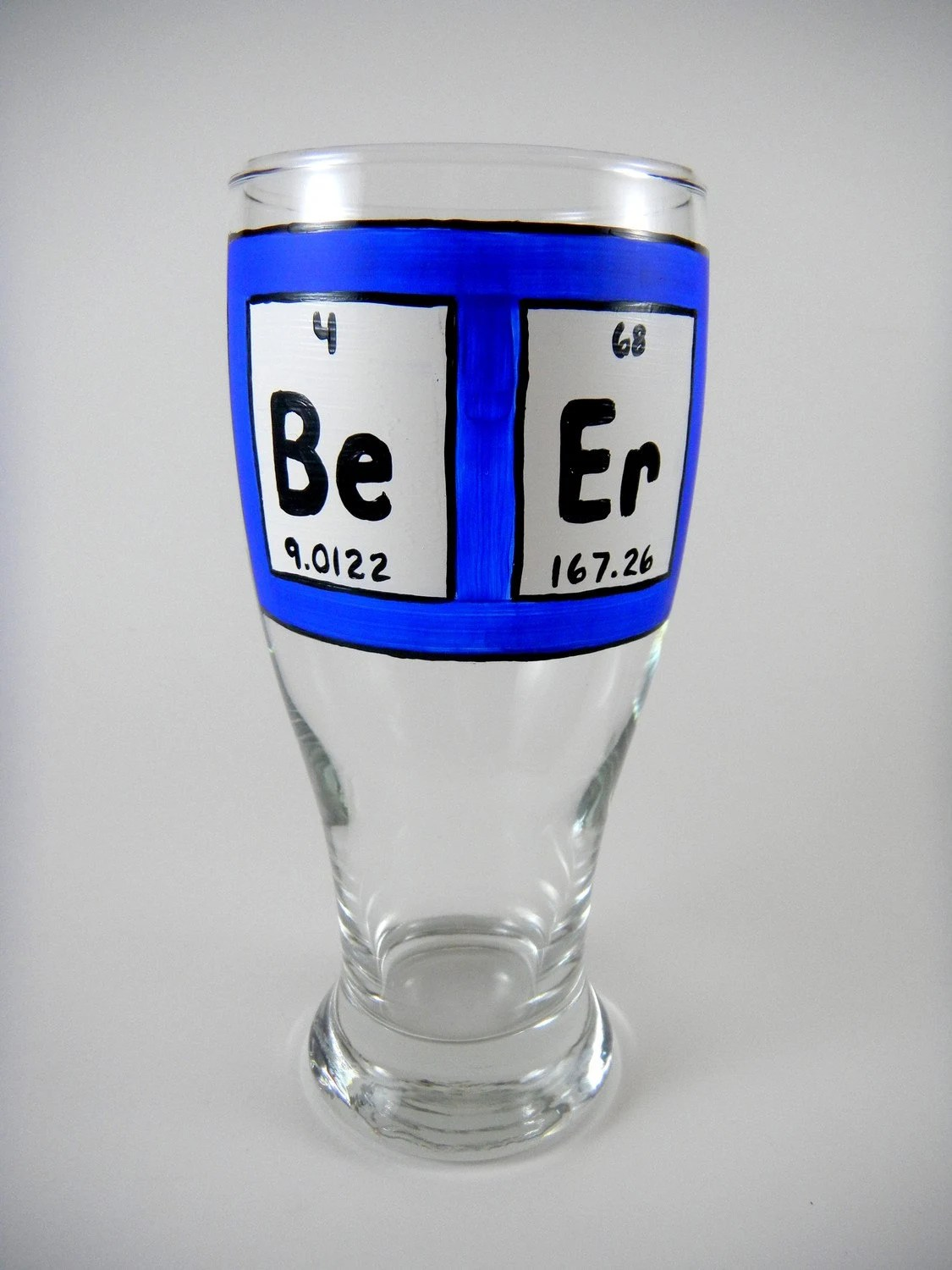Hand Painted Beer Glass Periodic Table of Elements