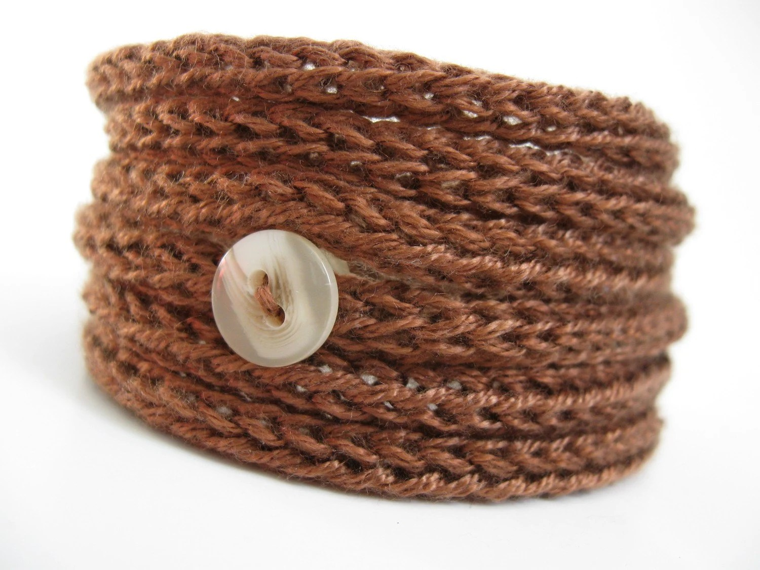 Knitted Cord Bracelet - Brown Shades - 4 colors available: Chocolate, Coffee, Caramel, Brown and Black - AnnyMay