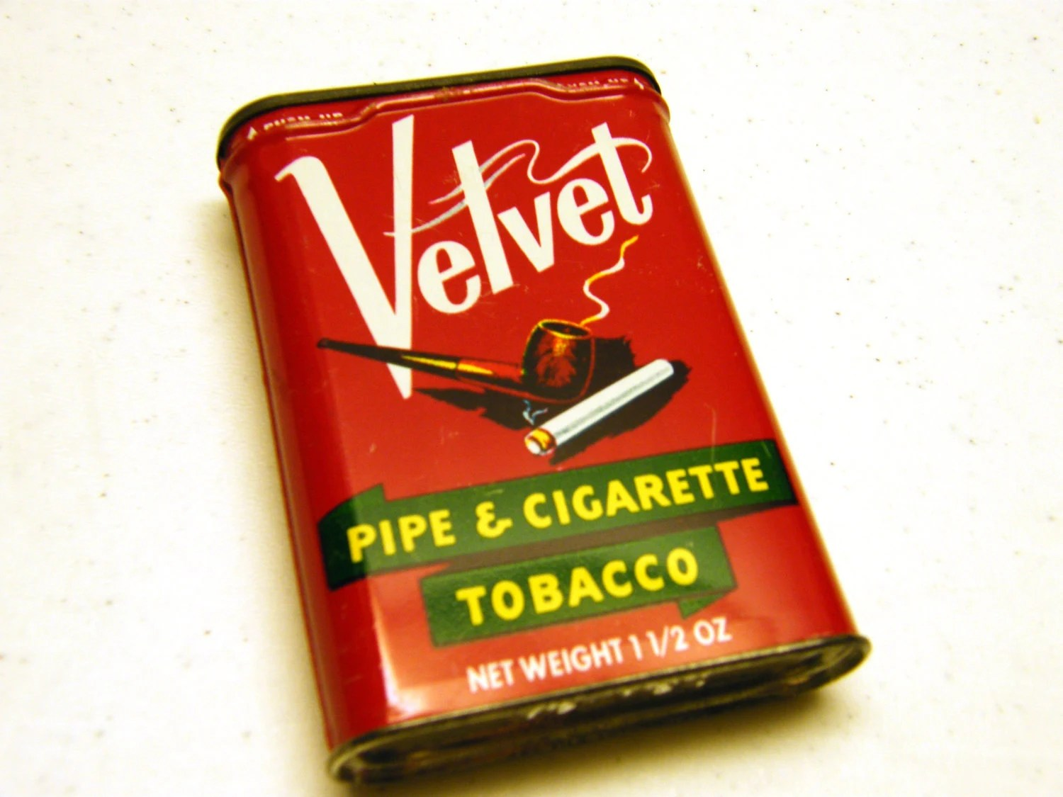 Velvet Pipe and Cigarette Tobacco RED metal tin can