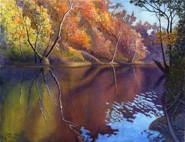 autumn landscape art watercolor