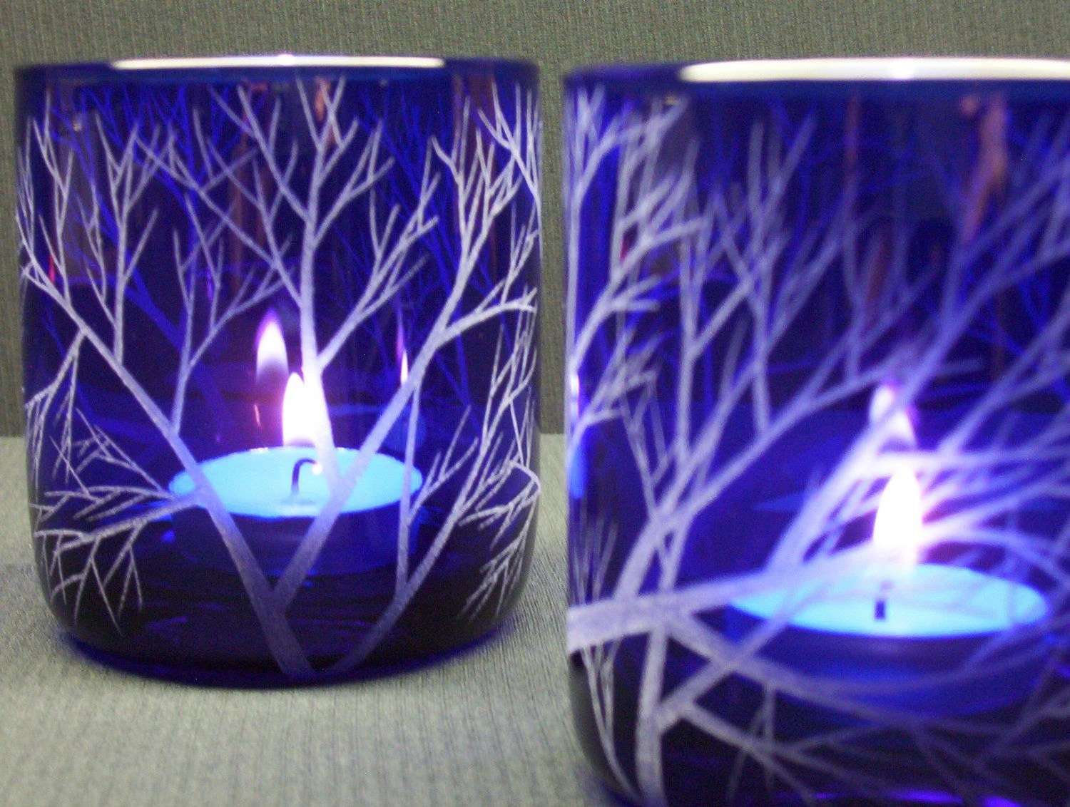 Two Cobalt Blue Candle Holders Hand Engraved With
