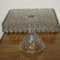 Fostoria American Glass Square Cake Plate w/ Rum Well