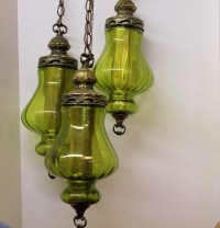 Vintage 3 Triple Globe Swag Light Lamp Moss Green by ...