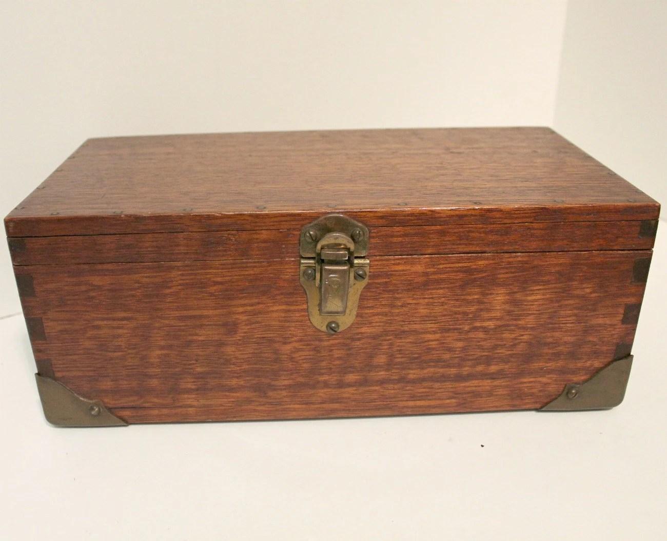 Antique Wooden Box Wood Chest Folk Art Storage