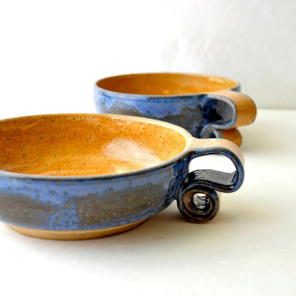 Ceramic Cereal Bowls Scroll Handle Pottery Breakfast Dishes