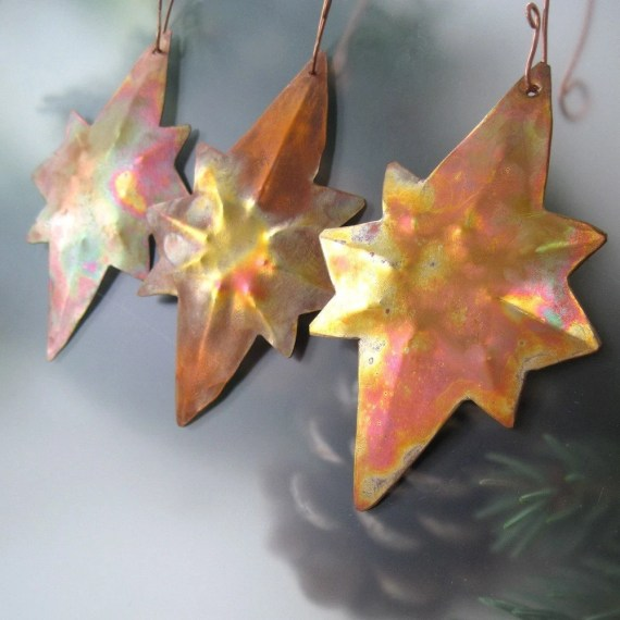 Star of Bethlehem Handmade Copper Christmas Tree Ornaments Holiday Decor - Set of Three - RoughMagicHolidays
