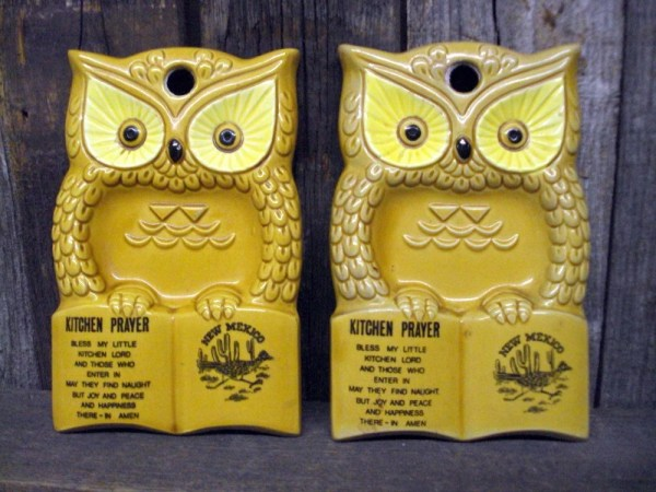 Vintage Owl Spoon Rest State of New Mexico Souvenir set of 2