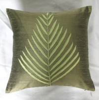 Olive green fern leaf throw pillow. Olive green dupioni