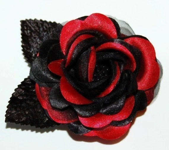 Pinup Hair Accessories RED BLACK Rose Hair Clip Flower