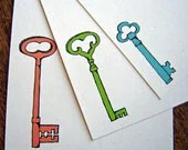 Spring Keys - Recycled Stationery  - set of 12 note flat cards - rachelink