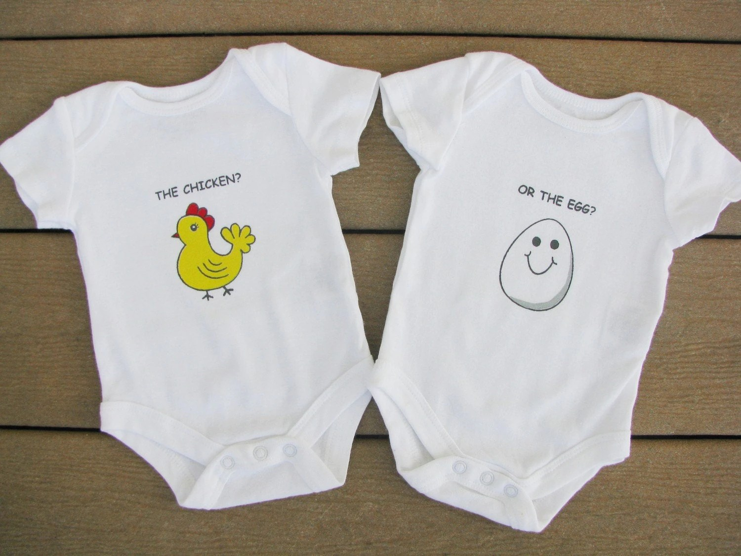 Twin Baby bodysuits Chicken or the Egg for Twins Who