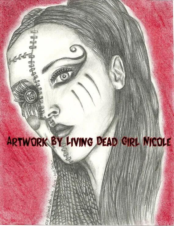 "Portrait Drawing Art Print  ""Doll Face""  Kimberly Freeman - One Eyed Doll"