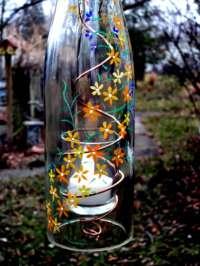 Wine Bottle Garden Light Hanging Candle HolderHurricane Lamp