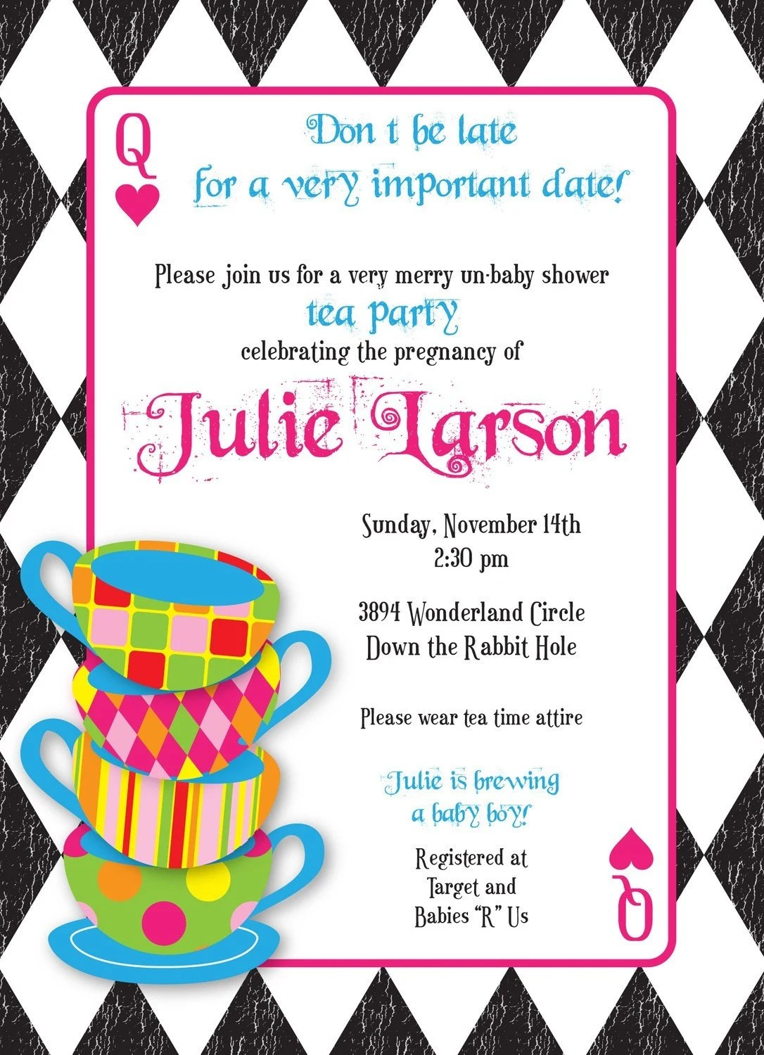 Alice And Wonderland Baby Shower Invitations