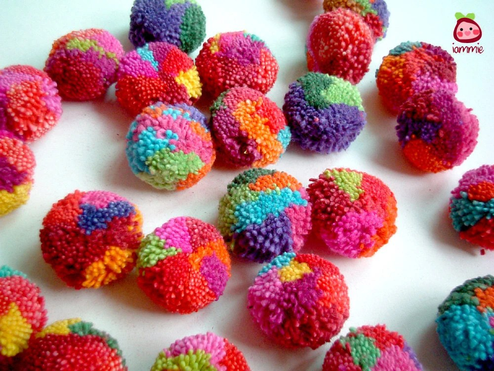Yarn Pom Poms cotton pom pom flower pompom mums