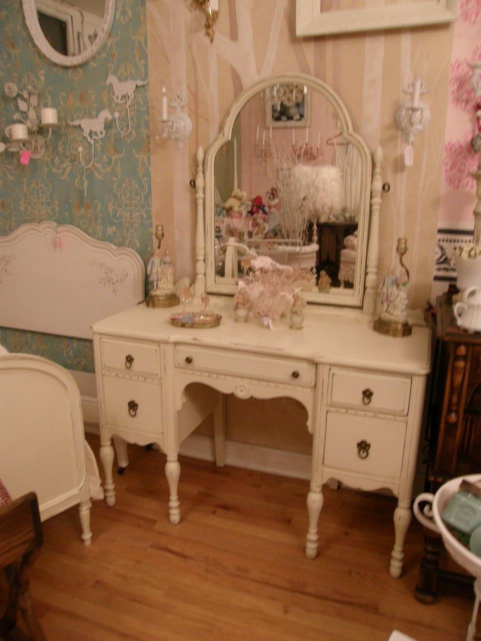 antique vanity shabby chic make up dressing table ivory