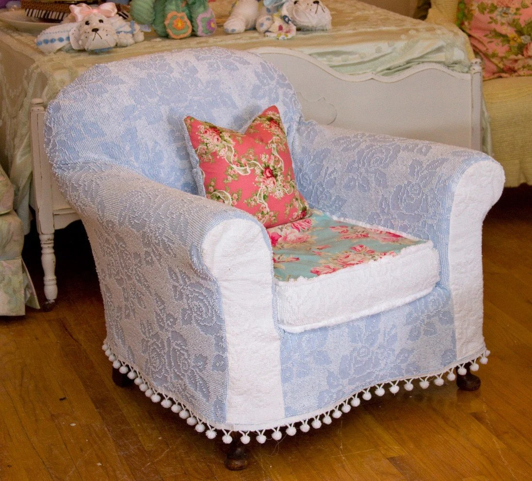 chic chair covers birmingham stool round shabby chenille bedspread slipcover roses antique