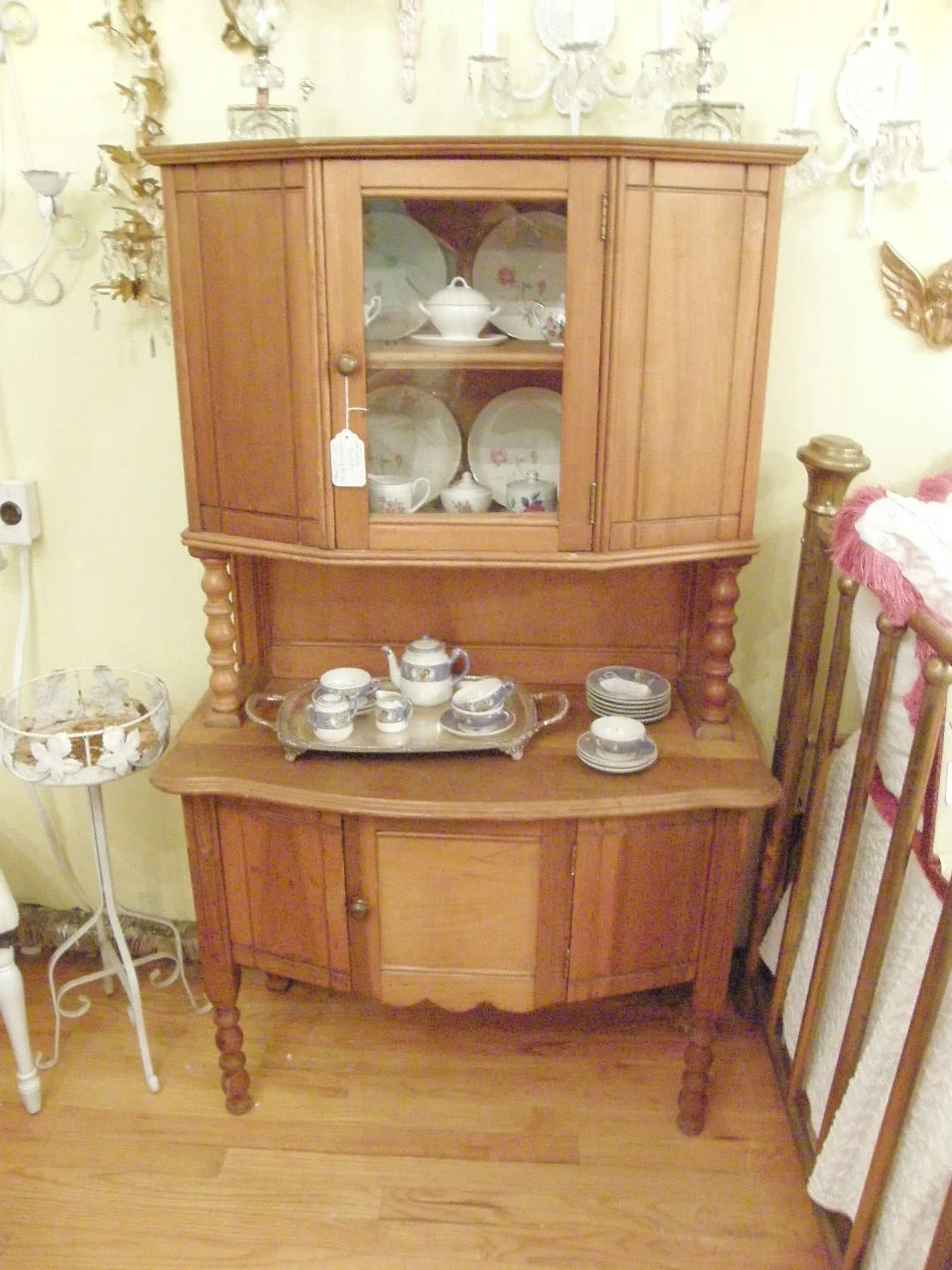 RARE antique childs cupboard hutch china cabinet kids kitchen