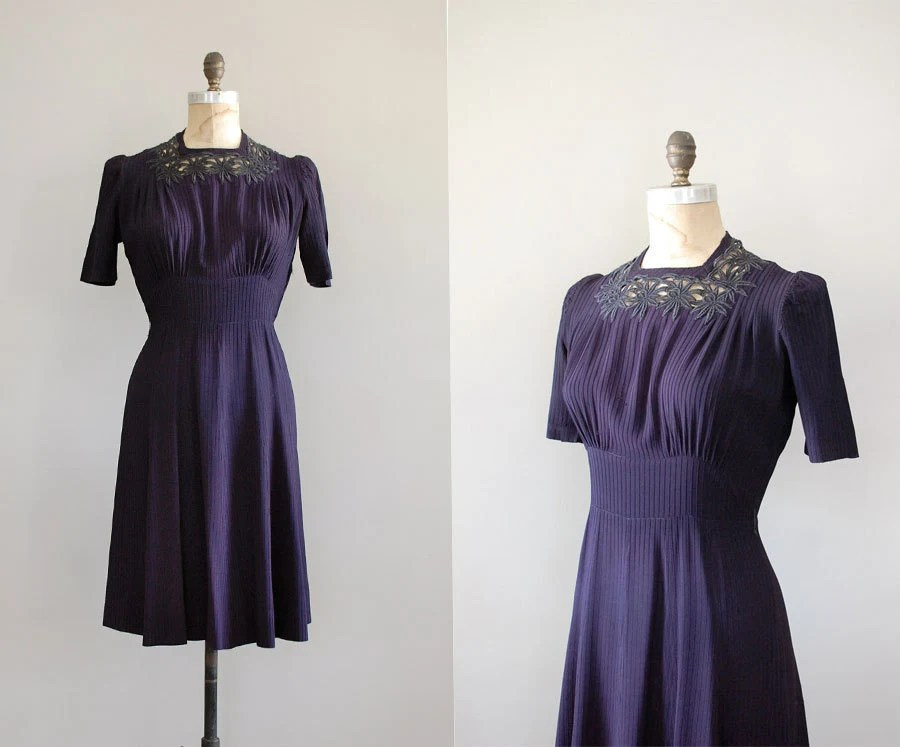 vintage rertro 1940's 40's purple tea eveing dress vintage clothing dresses dewvintage
