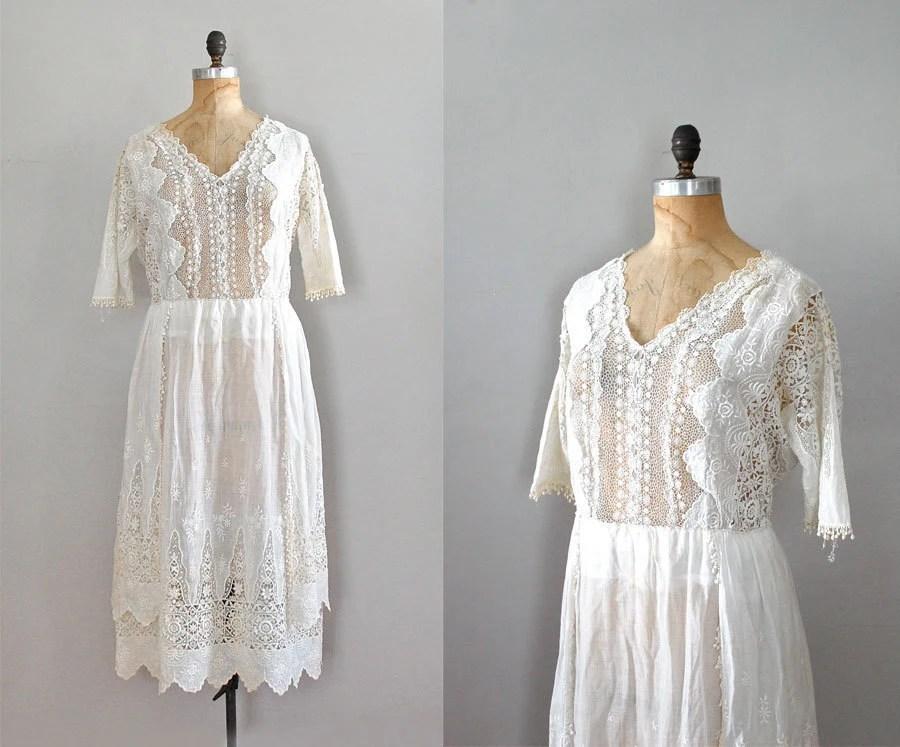 1920s Dress / Lace Edwardian Dress / 20s Wedding Dress