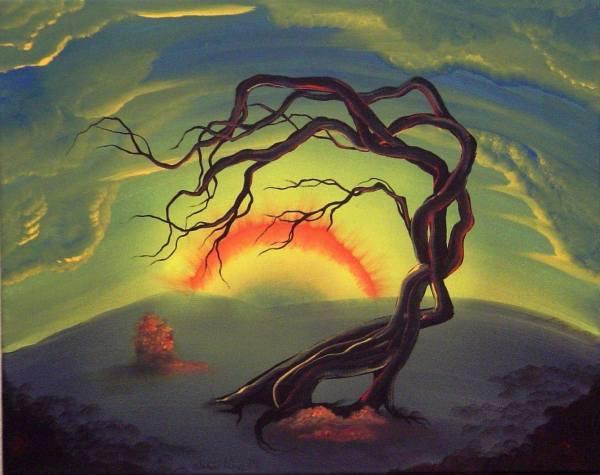 Original Surreal Landscape Painting Irondog Tree