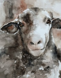 Watercolor painting brown sheep PRINT by rachellelevingston