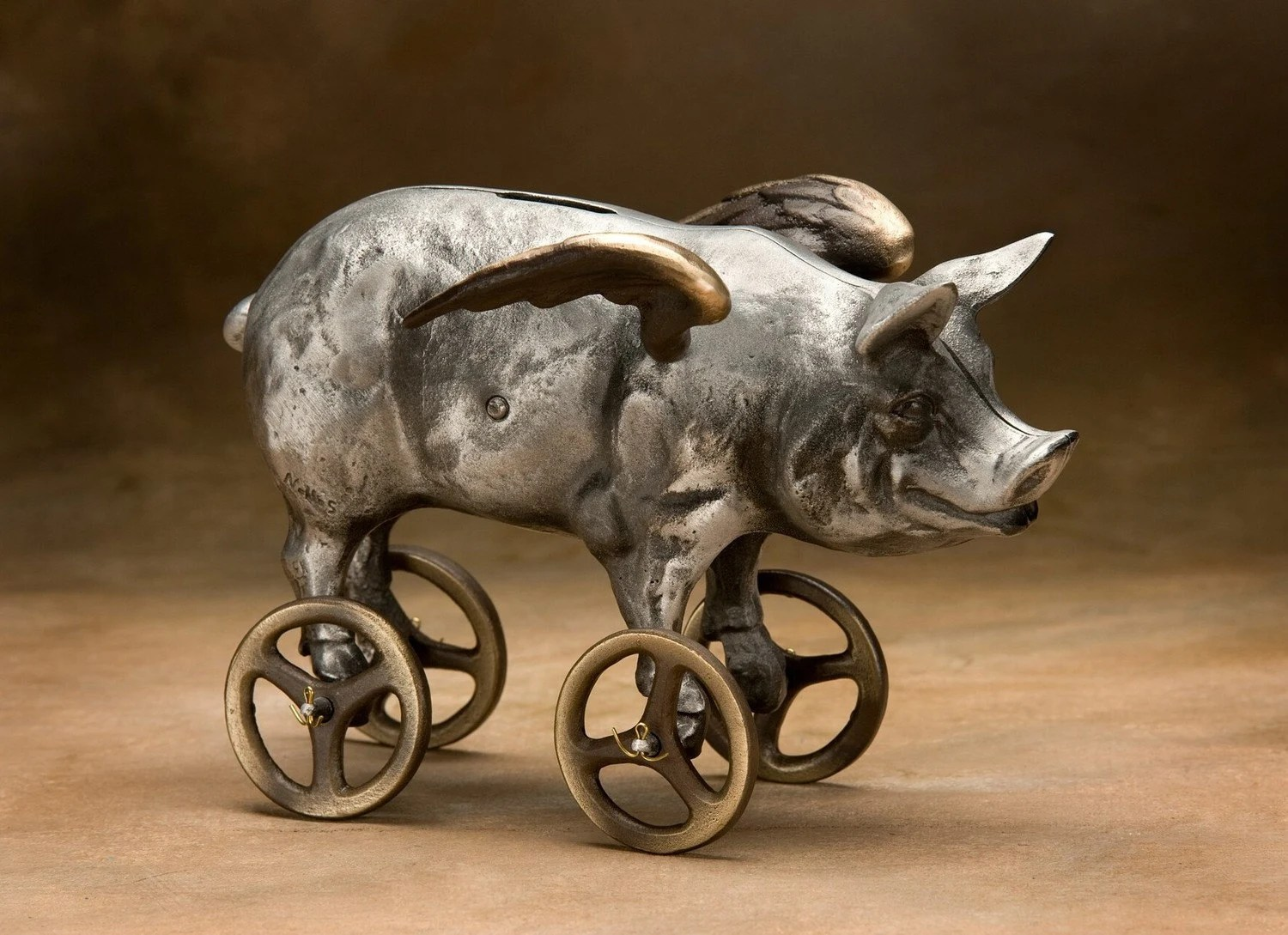 Flying Pig Coin Bank, Cast Aluminum with Bronze Wheels - Nelles