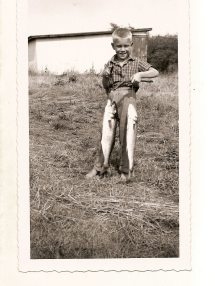 Vintage Boys Fishing Barefoot