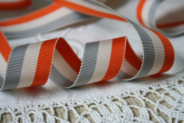 Orange Gray Striped Grosgrain Ribbon 2 Yards Emmadear