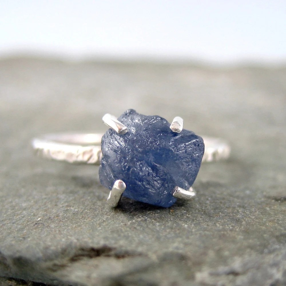Uncut Raw Rough Blue Sapphire Ring Sterling Silver Solitaire
