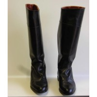 Vintage Black Leather Stove Pipe Boots Italy SZ9 Flats Nuova