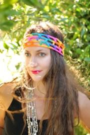 rainbow hippie headband boho style