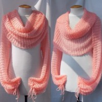 Bolero Sweater Scarf Shawl with sleeves at both ends. FREE