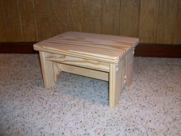 Handcrafted Unfinished Pine Step Stool