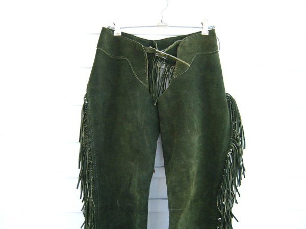 Vintage 70s Green Suede Womens Western Chaps With Fringe