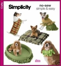 NO SEW FLEECE DOG BEDS / COATS / COLLAR SEWING PATTERN IN