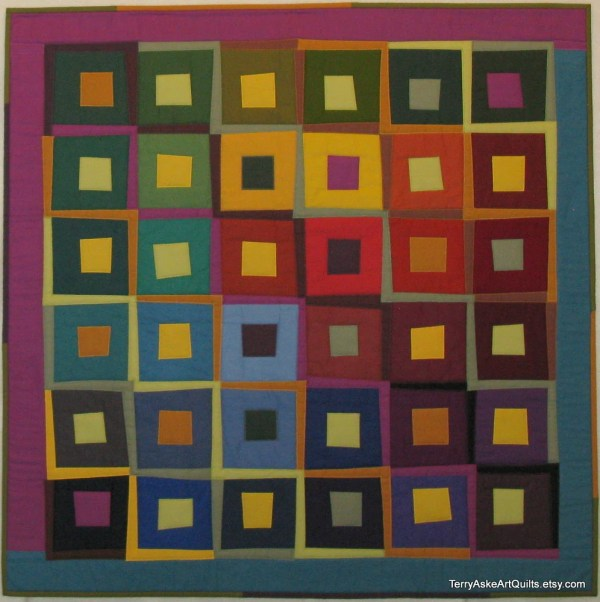 Modern Art Quilt Wall Hanging Steps And Squares