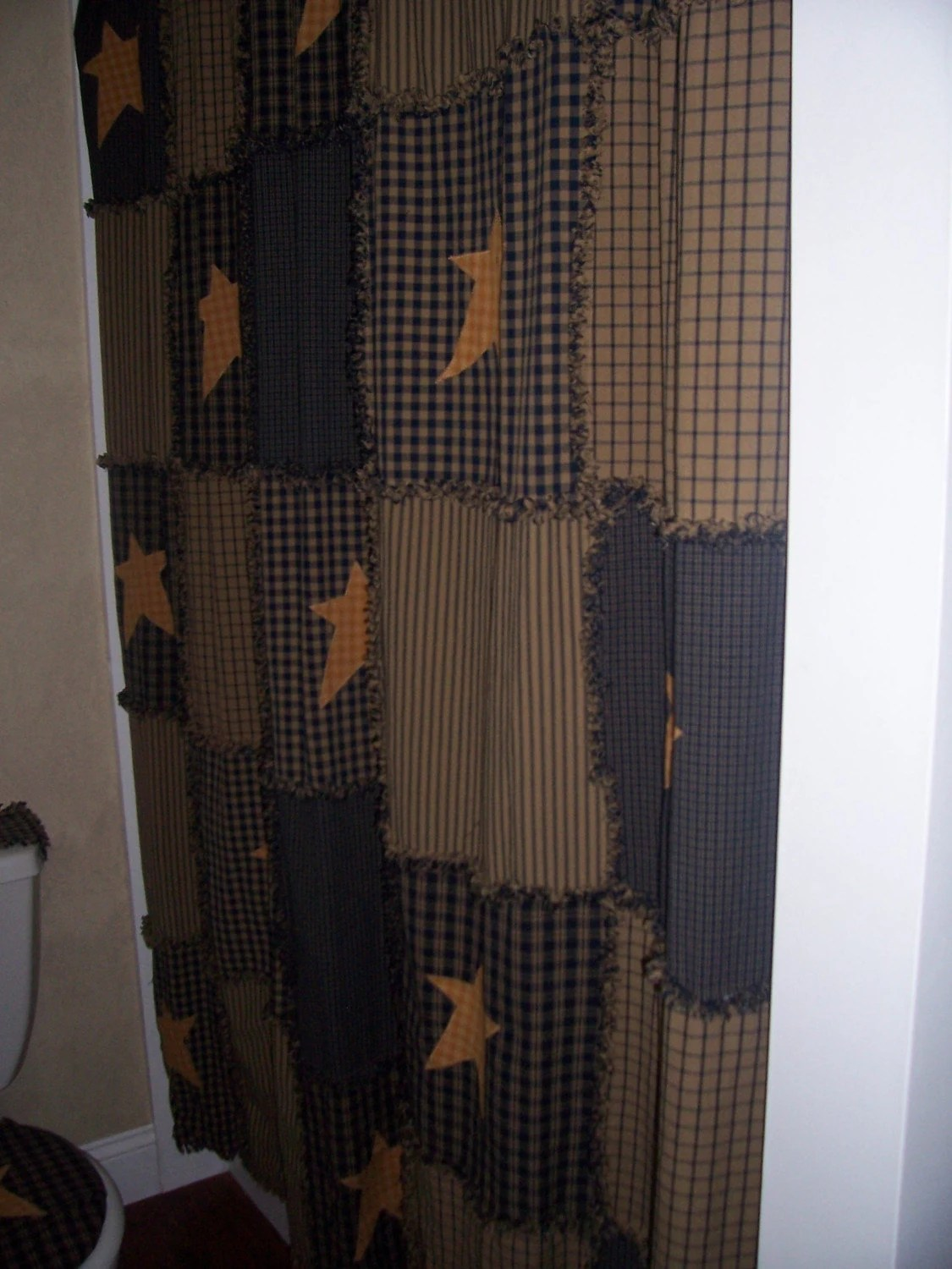 Primitive Raggy Shower Curtain Navy and Tan by kbardo on Etsy