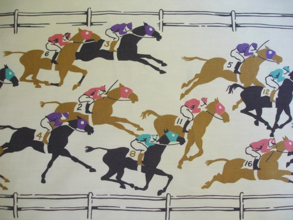Vintage Horse Racing Fabric