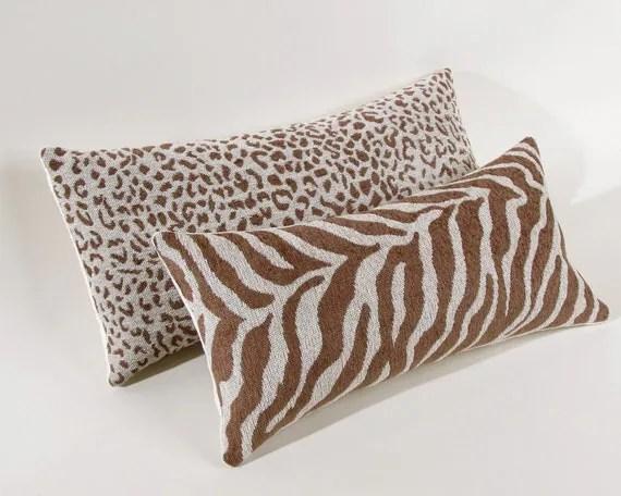 Brown and Cream Zebra Print Pillow