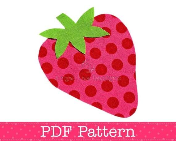 Strawberry Applique Template Fruit Food DIY Children PDF