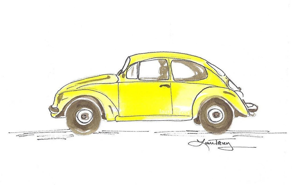 Punch Buggy - Watercolor in Sunshine Yellow - lauratrevey