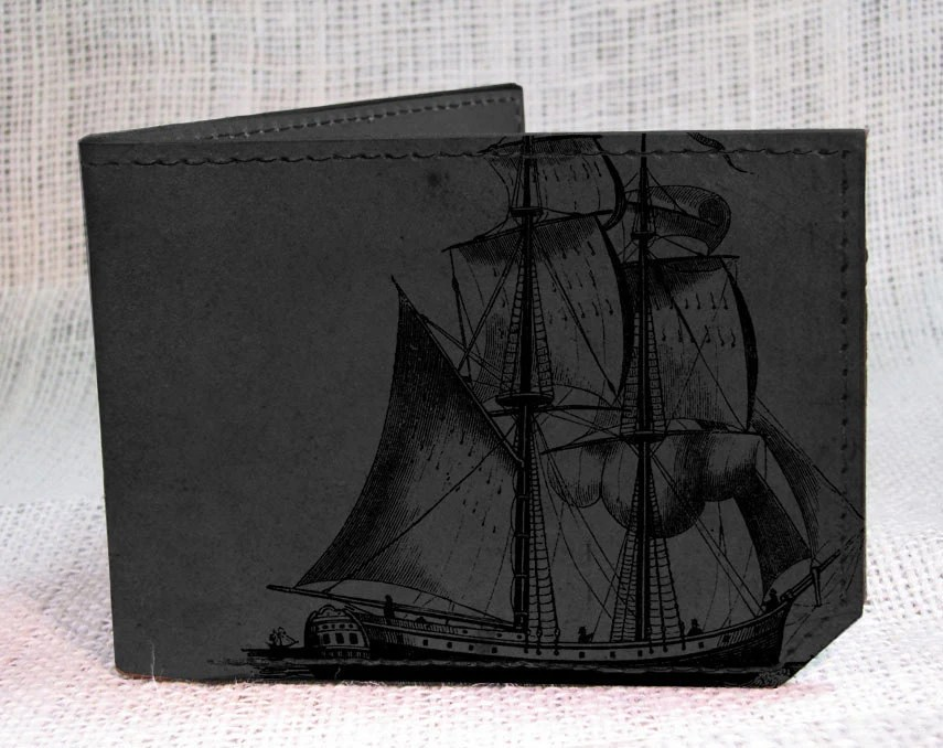 wallet - leather wallet - pirate ship wallet - men wallet- grey - backerton