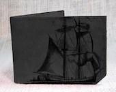 wallet - leather wallet - pirate ship wallet - men wallet- grey - backerton