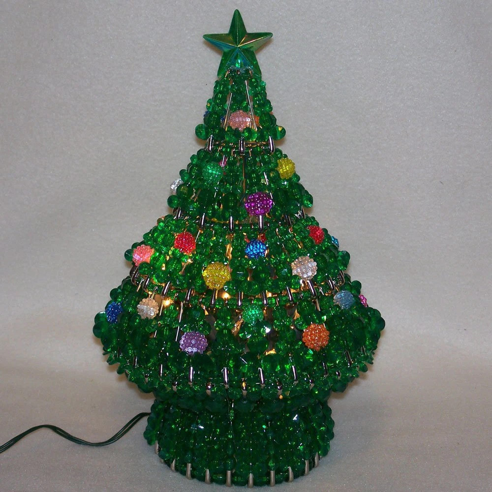 Safety Pin And Bead Christmas Tree